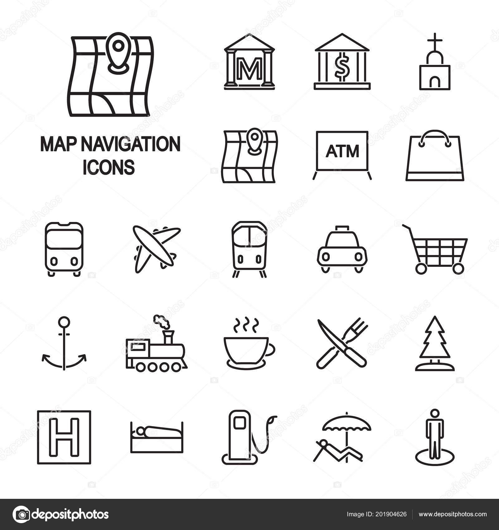 Mapa Navegacao Conjunto Icones Lenda Mapa Locais Vetor