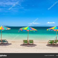 Beach Chairs And Umbrella P Kolino Toddler Bed Chair Colorful Umbrellas Sunny Day Stock Photo
