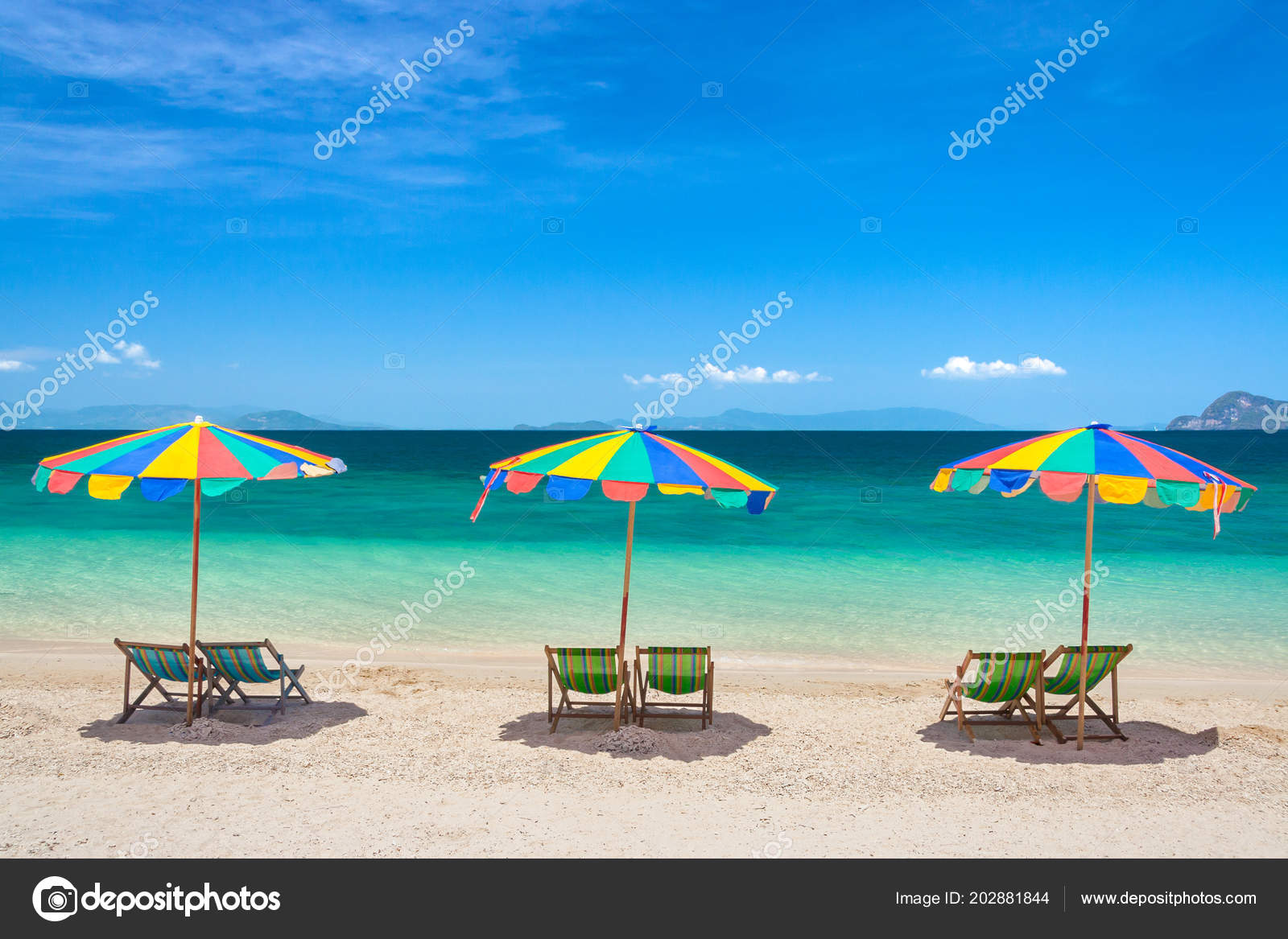 Beach Chairs With Umbrella Colorful Beach Chairs Umbrellas Sunny Day Stock Photo