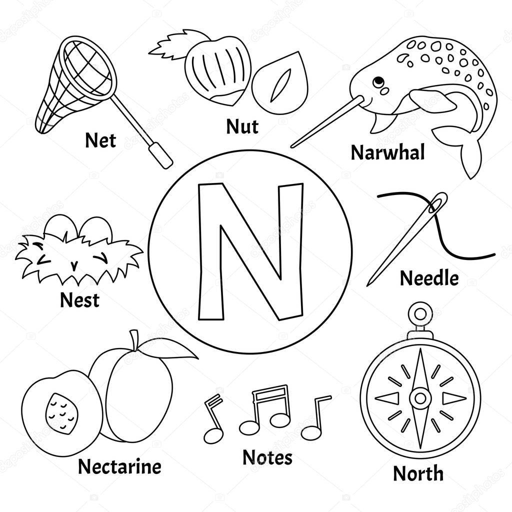 Vector Cute Kids Animal Alphabet Letter Set Cute Cartoon