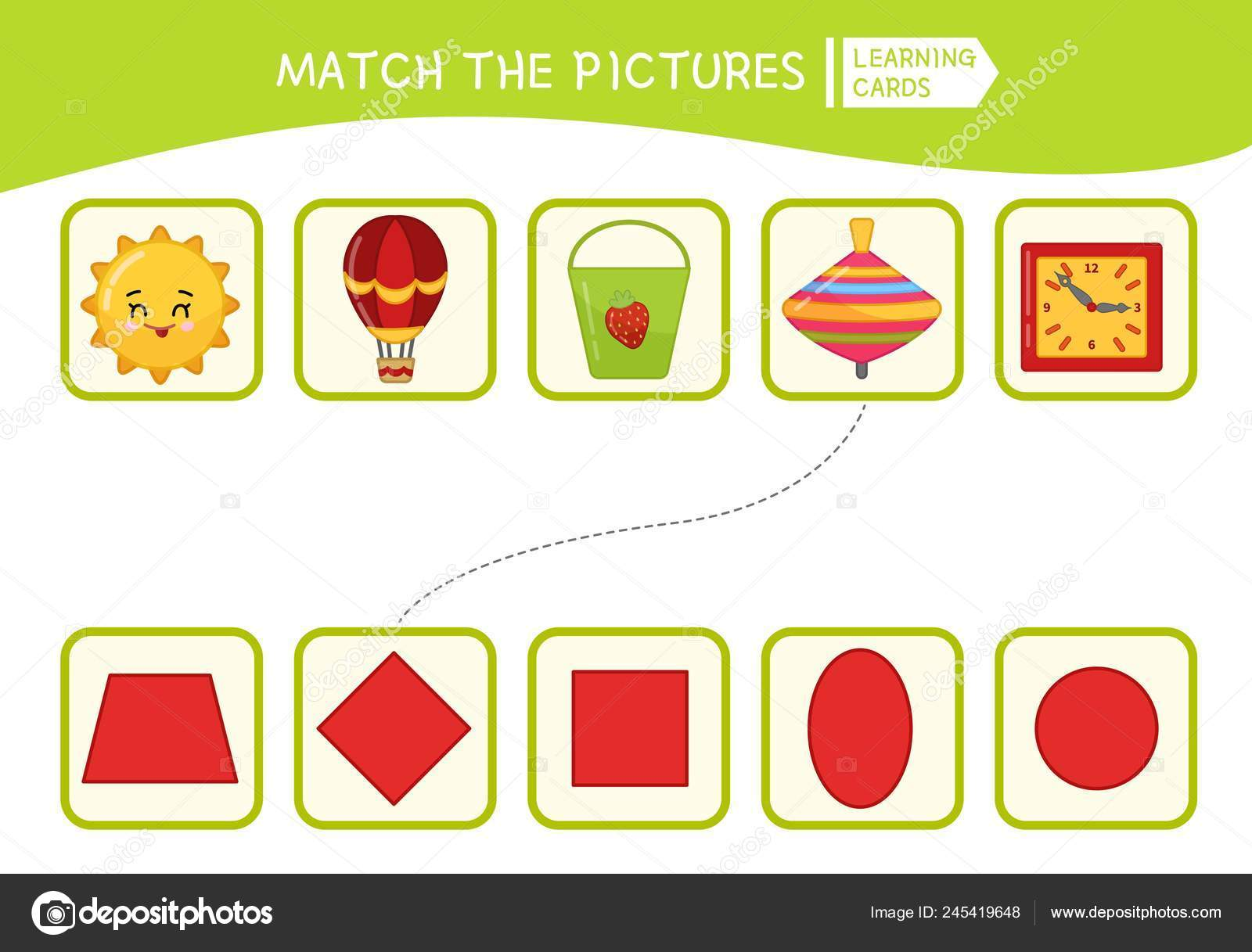 Matching Children Educational Game Match Objects Geometric