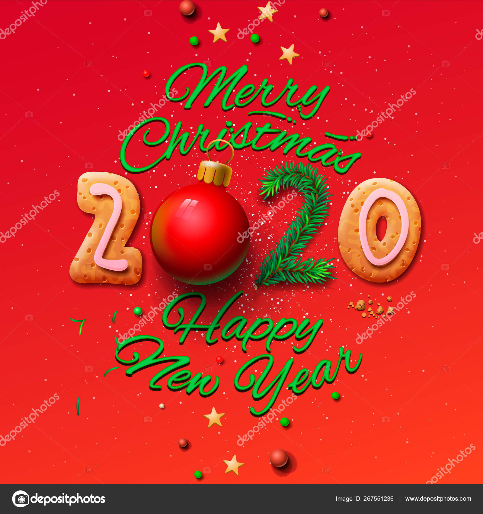 Merry Christmas and Happy New Year 2020 greeting card. vector illustration. — Stock Vector © ikopylove #267551236