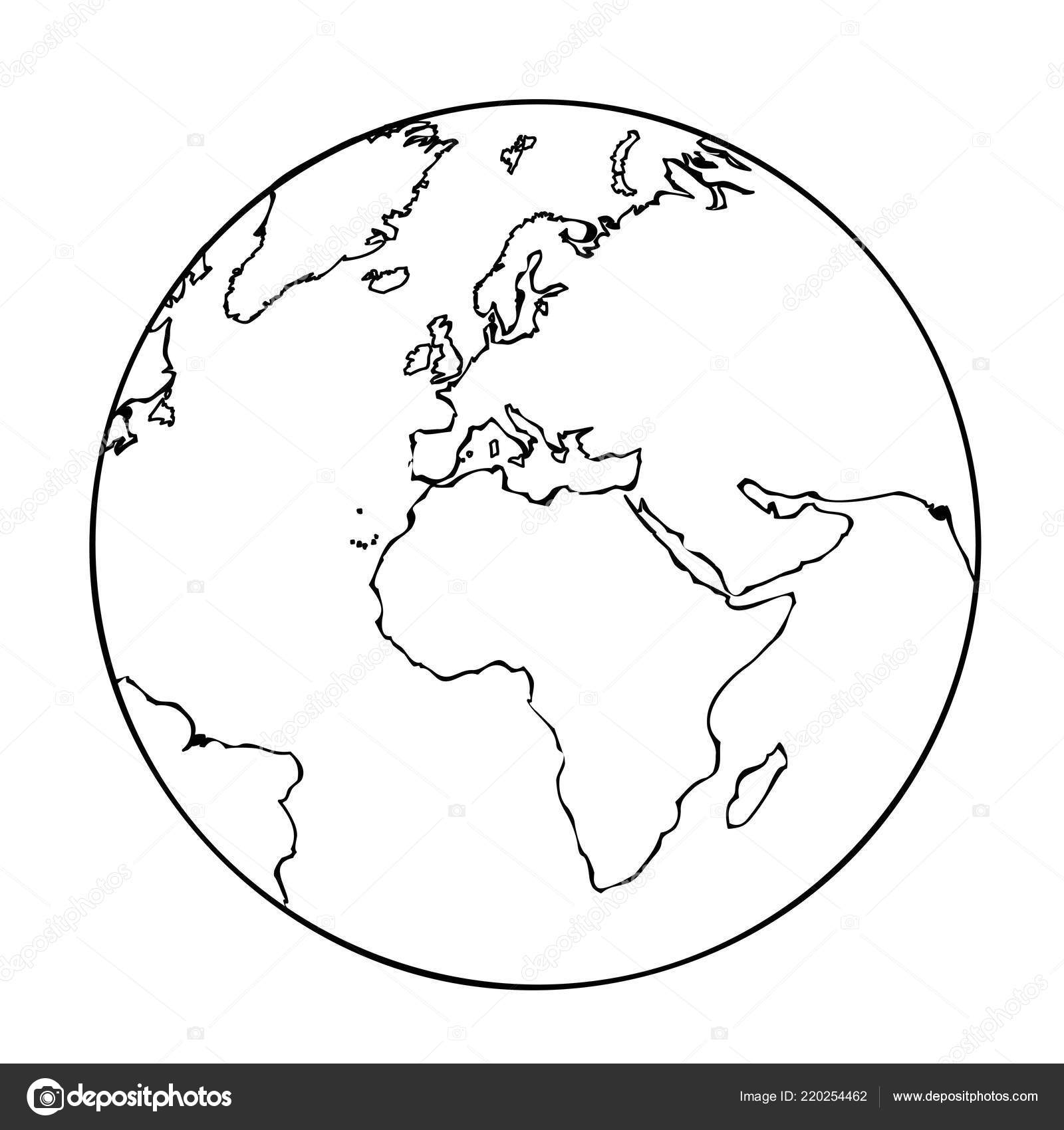 earth globe simple icon pictogram outline — Stock Vector