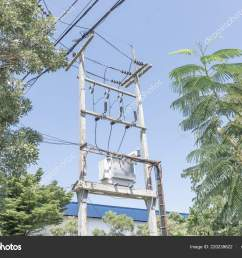 big transformer installed on the pole with electrical wiring stock image [ 1600 x 1167 Pixel ]