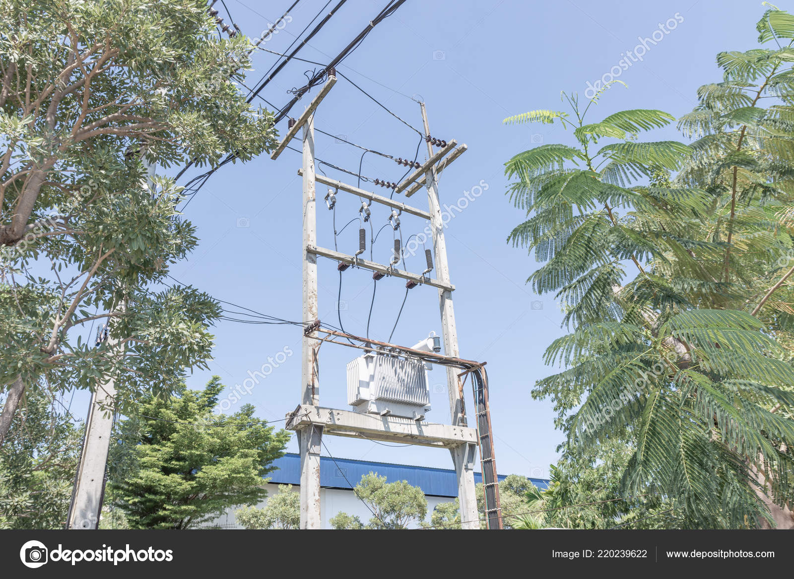 hight resolution of big transformer installed on the pole with electrical wiring stock image