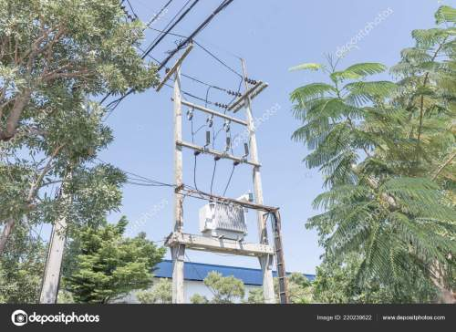 small resolution of big transformer installed on the pole with electrical wiring stock image
