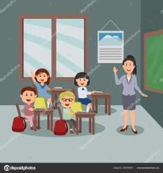 Study Classroom Teacher Student Cartoon Illustration Stock Vector © Vectorism #209705634