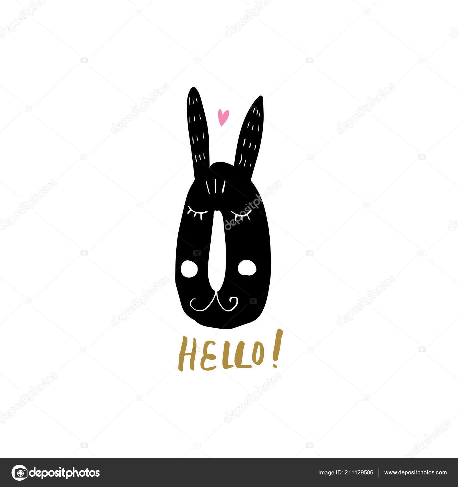 hight resolution of nursery poster postcard bunny lettering vector clipart stock vector
