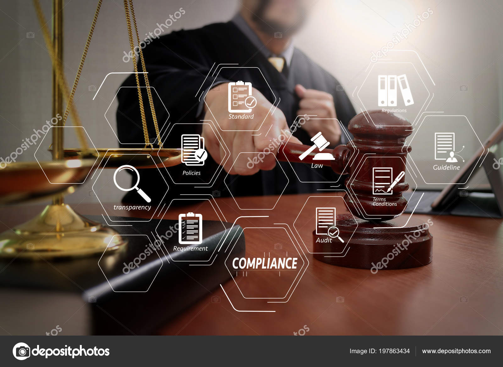 hight resolution of compliance virtual diagram for regulations law standards requirements and audit male judge in a courtroom with the gavel working with smart phone and