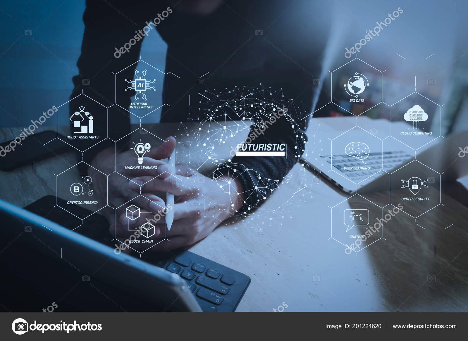 hight resolution of futuristic industry business virtual diagram robot assistant cloud big data stock photo