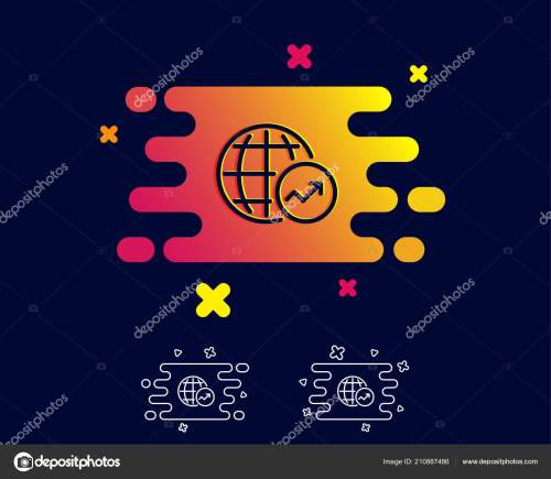 small resolution of world statistics line icon report chart sales growth sign data stock vector