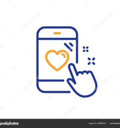 heart rating line icon feedback phone sign customer satisfaction symbol colorful outline concept blue and orange thin line color heart rating icon  [ 1600 x 1394 Pixel ]