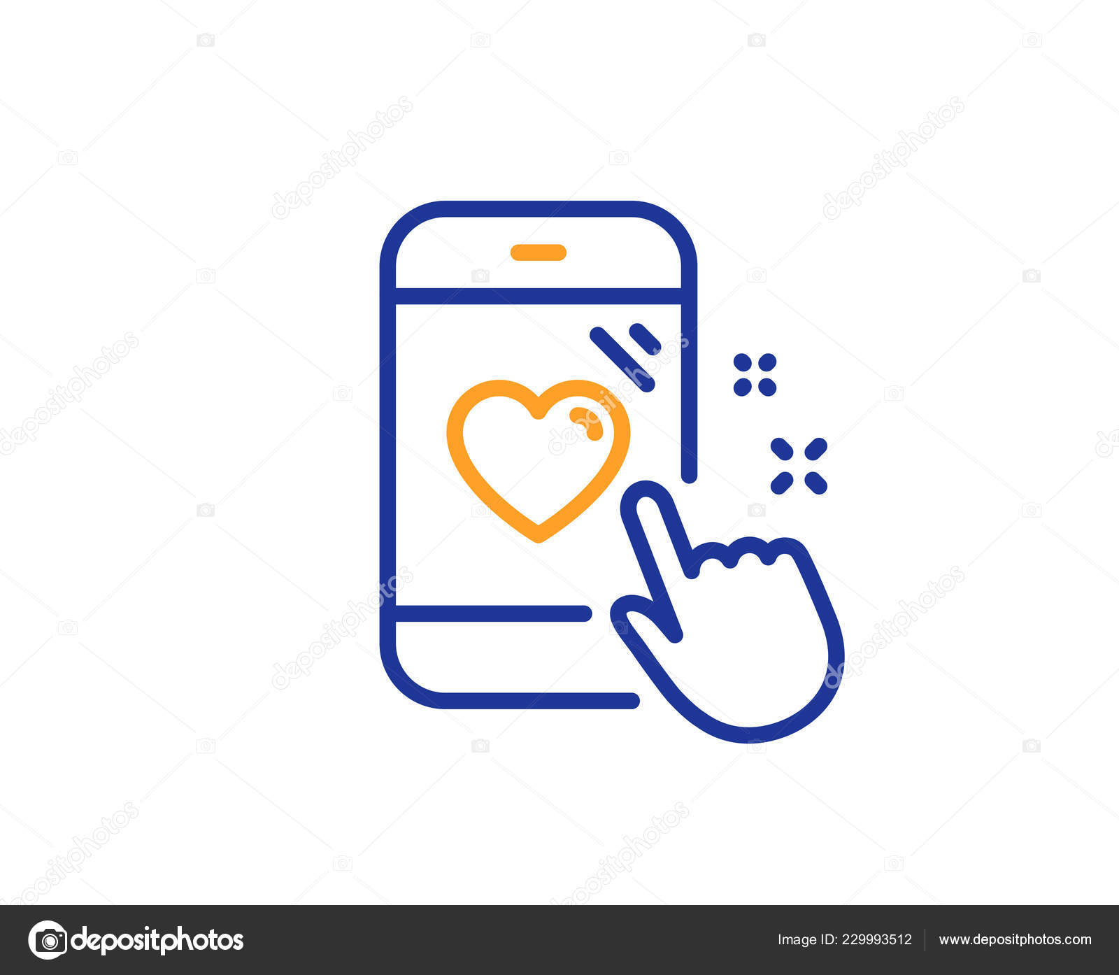 hight resolution of heart rating line icon feedback phone sign customer satisfaction symbol colorful outline concept blue and orange thin line color heart rating icon