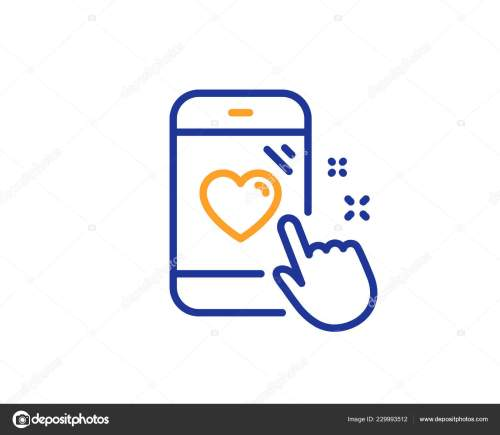 small resolution of heart rating line icon feedback phone sign customer satisfaction symbol colorful outline concept blue and orange thin line color heart rating icon