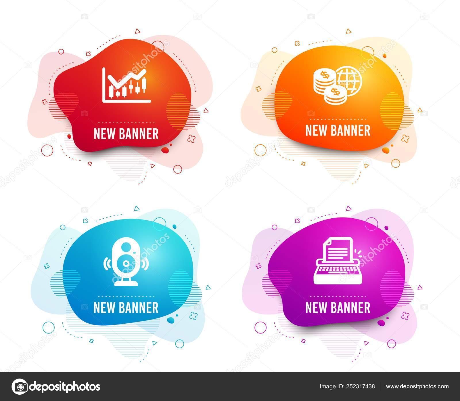 hight resolution of liquid badges set speaker financial diagram world money icons typewriter stock vector