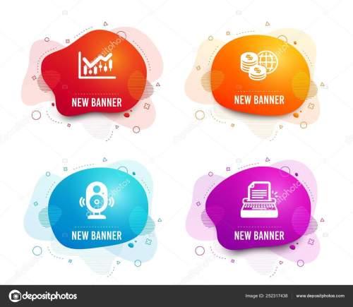 small resolution of liquid badges set speaker financial diagram world money icons typewriter stock vector