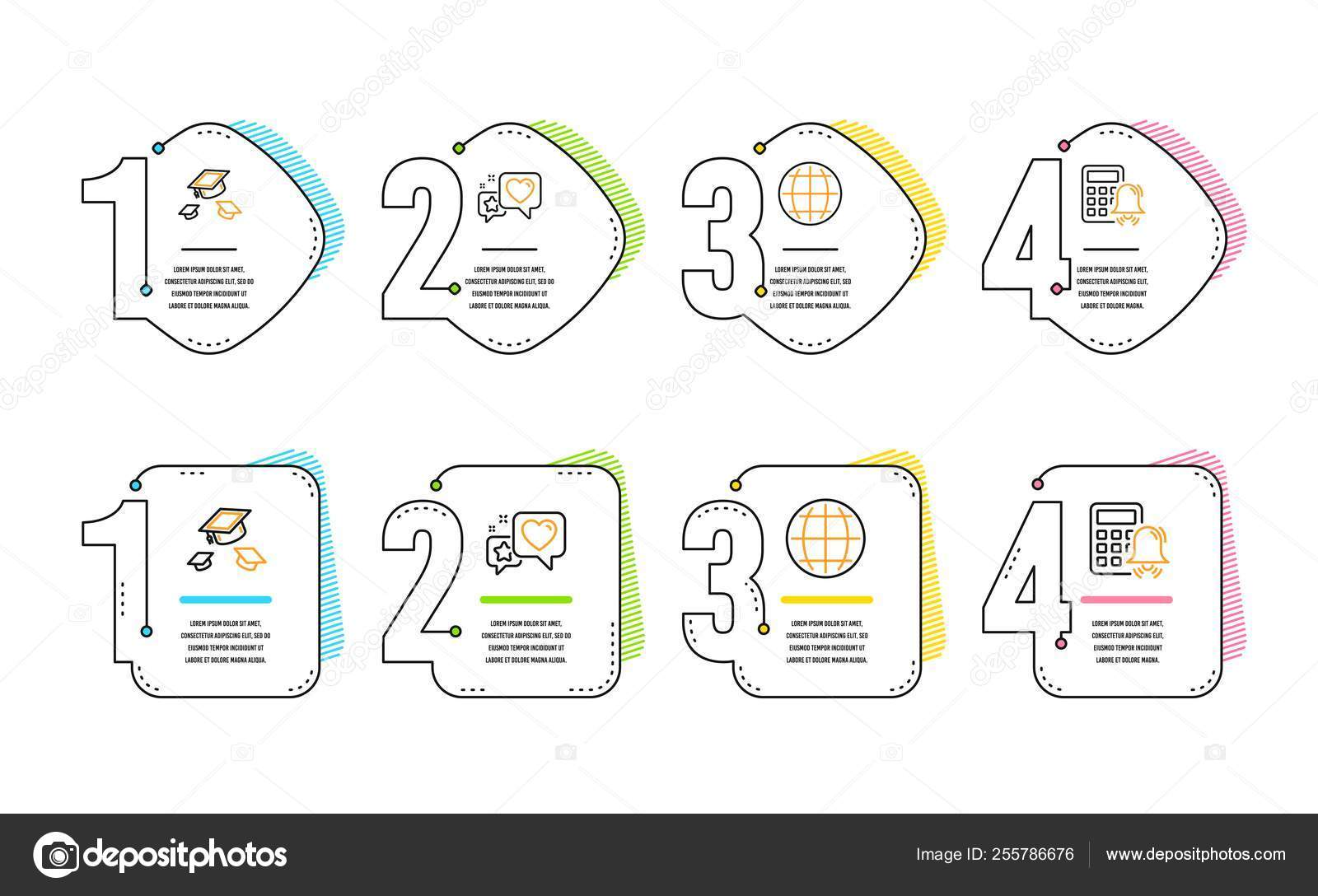 hight resolution of heart globe and throw hats icons simple set calculator alarm sign star rating internet world college graduation accounting infographic timeline line