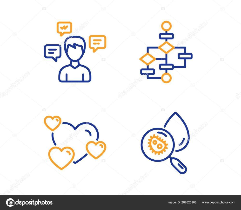 medium resolution of conversation messages heart and block diagram icons set water analysis sign vector stock illustration