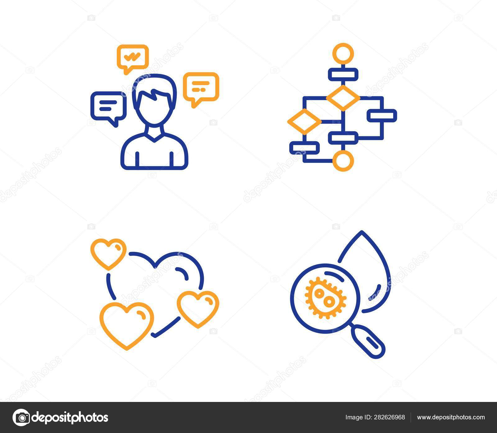 hight resolution of conversation messages heart and block diagram icons set water analysis sign vector stock illustration