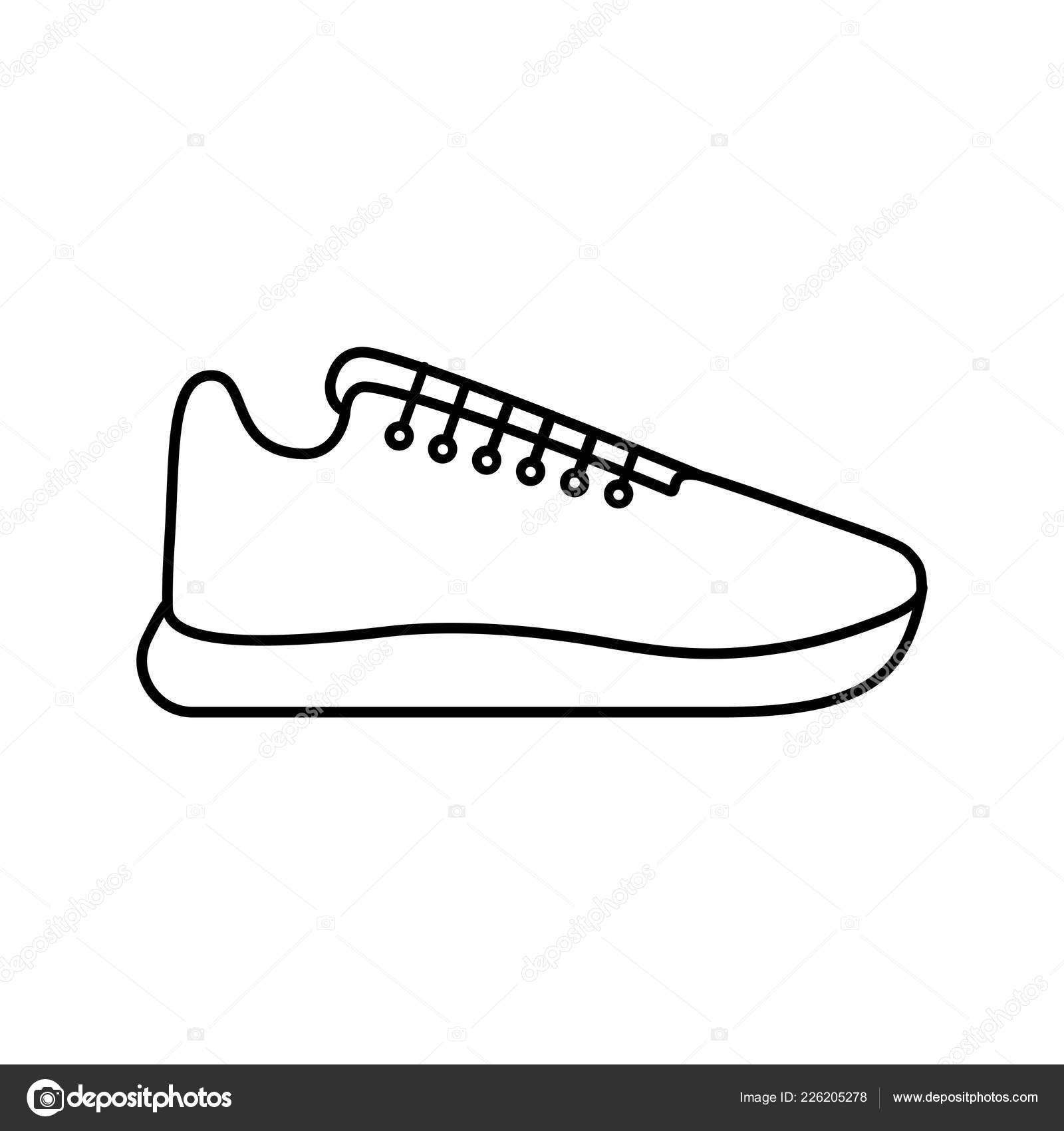 hight resolution of vector illustration icon of sport running shoes sneakers black outline white background vector by