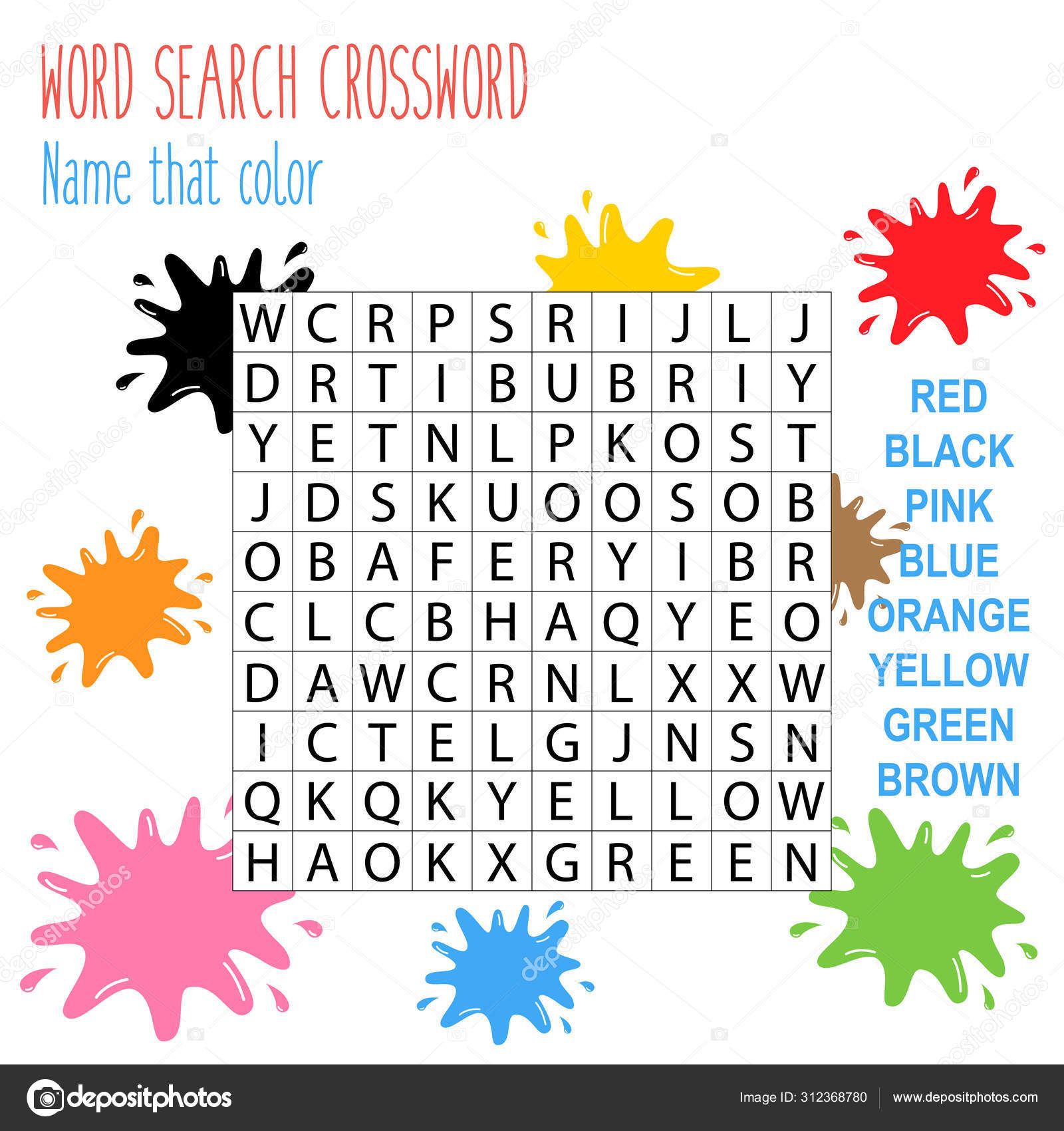 Easy Word Search Crossword Puzzle Name Color Children