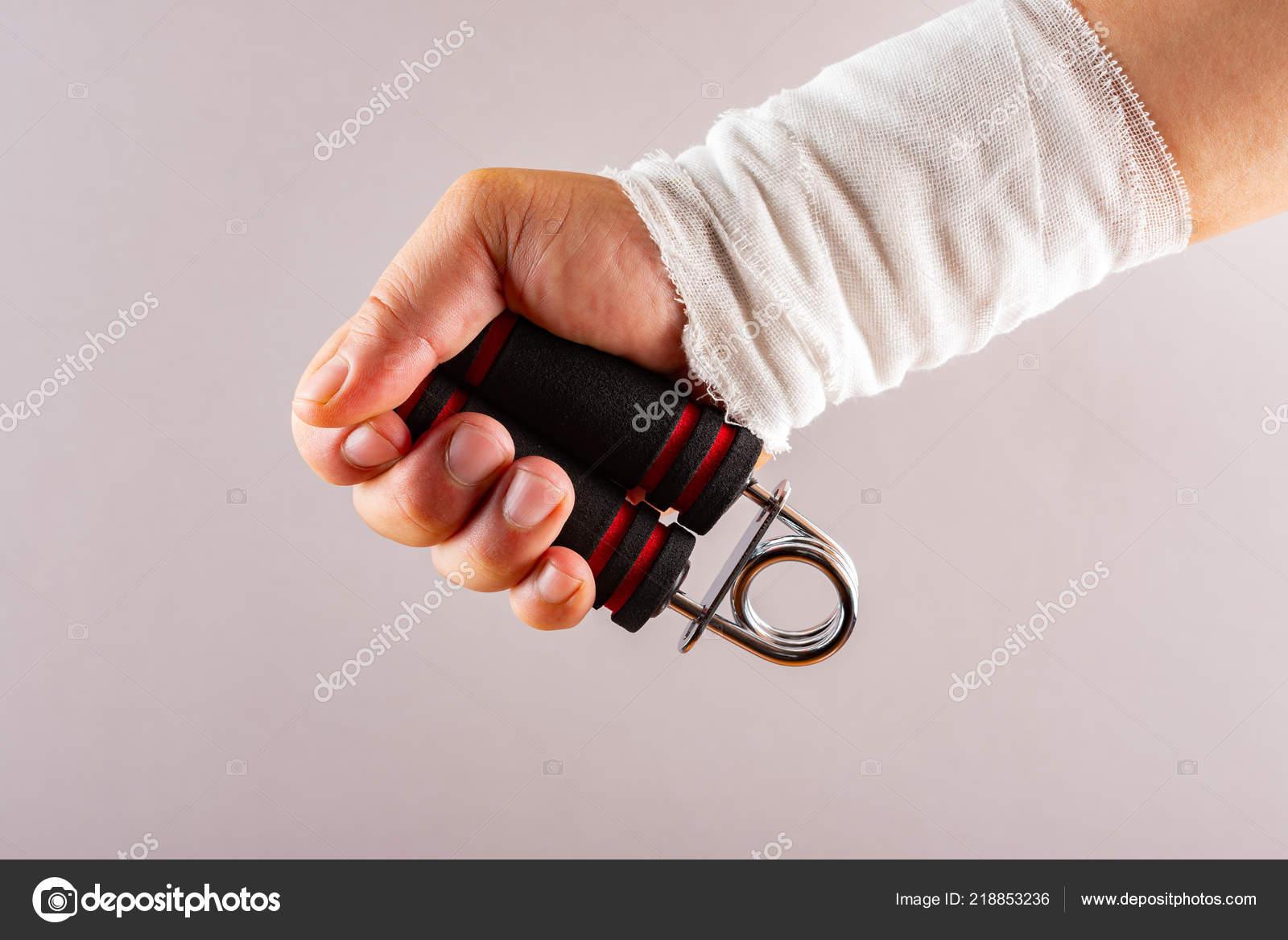 hurt hand doing rehabilitation