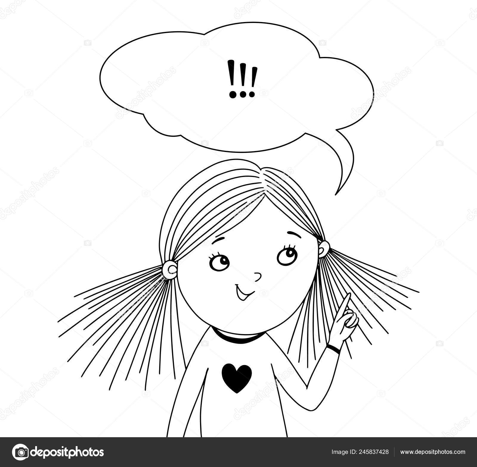 Little girl with a speech bubble. Black and white