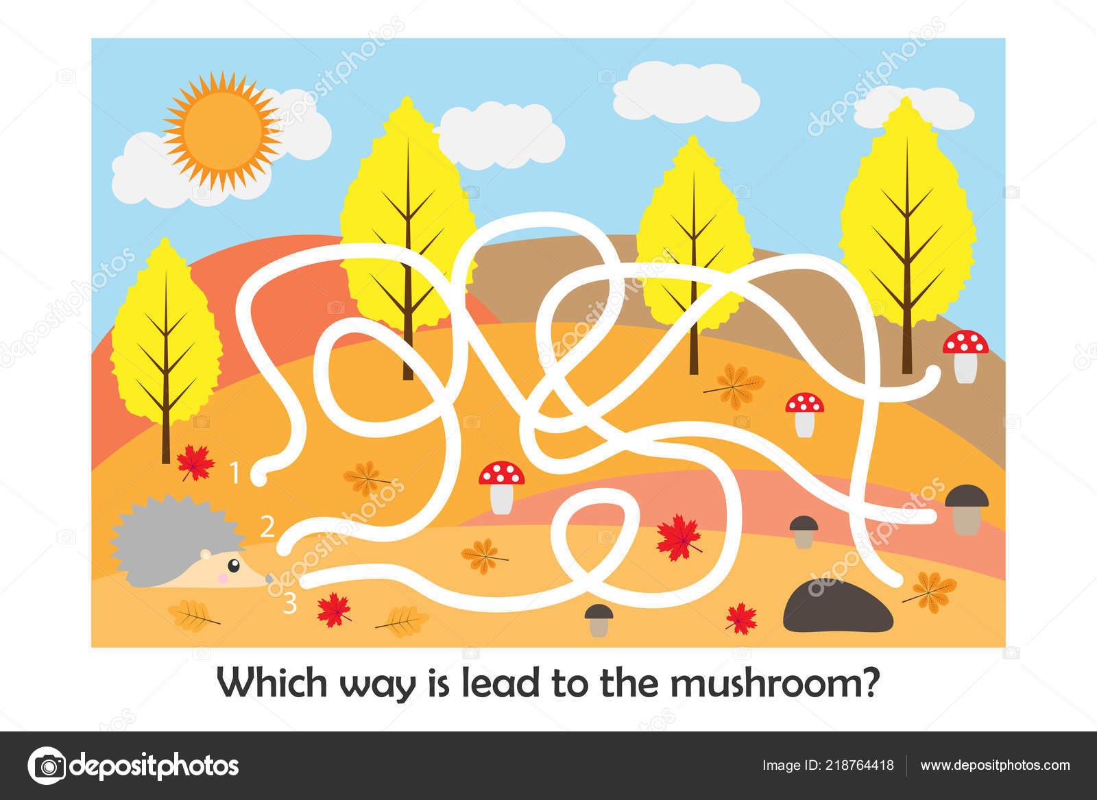 Labyrinth Game Help Hedgehog Find Way Mushroom Cute