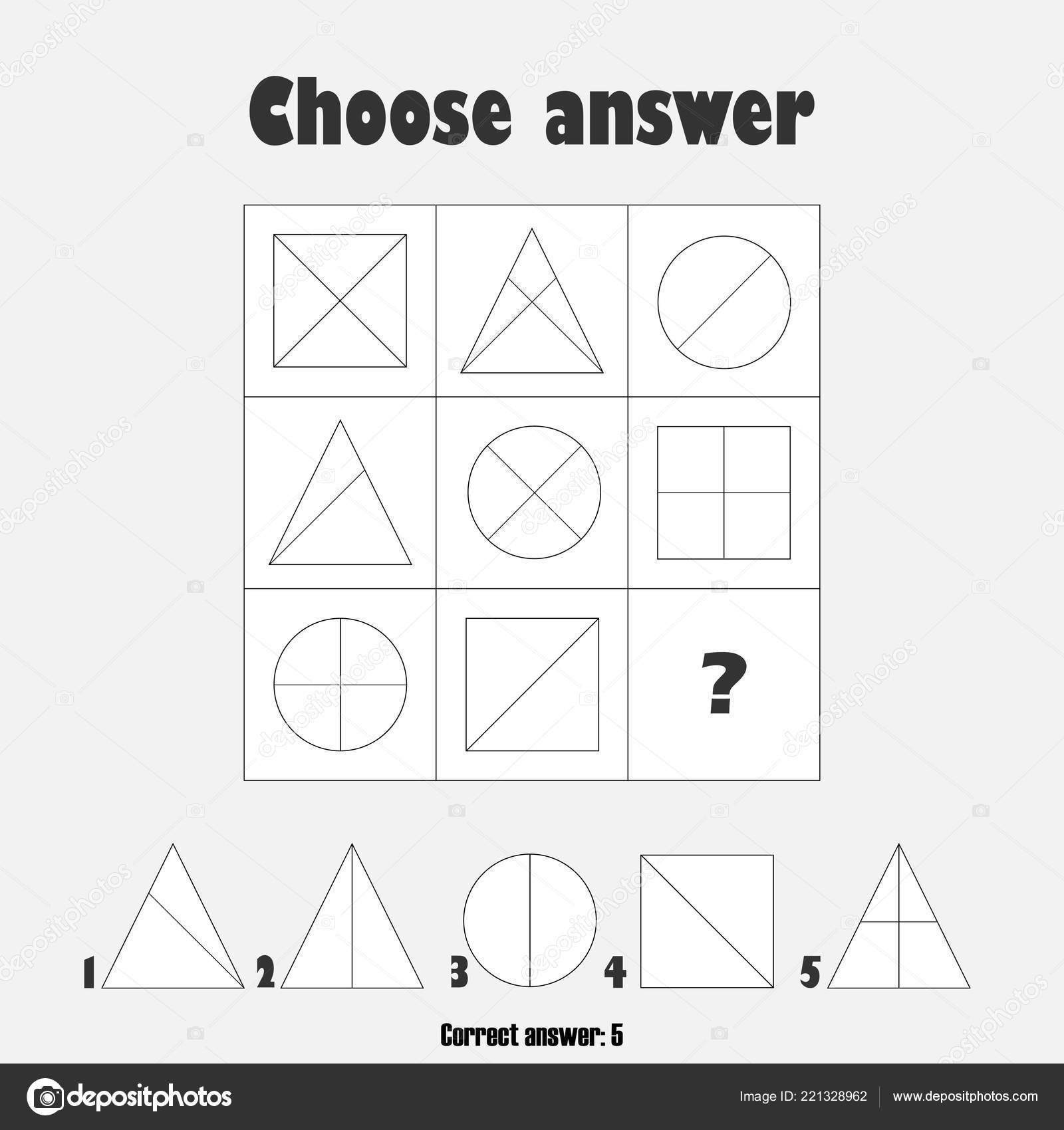 Choose Correct Answer Test Geometric Shapes Children Fun
