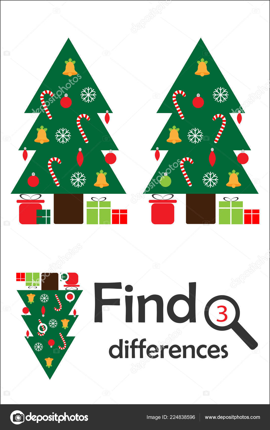 Find 3 Differences Christmas Game For Children Xmas Tree