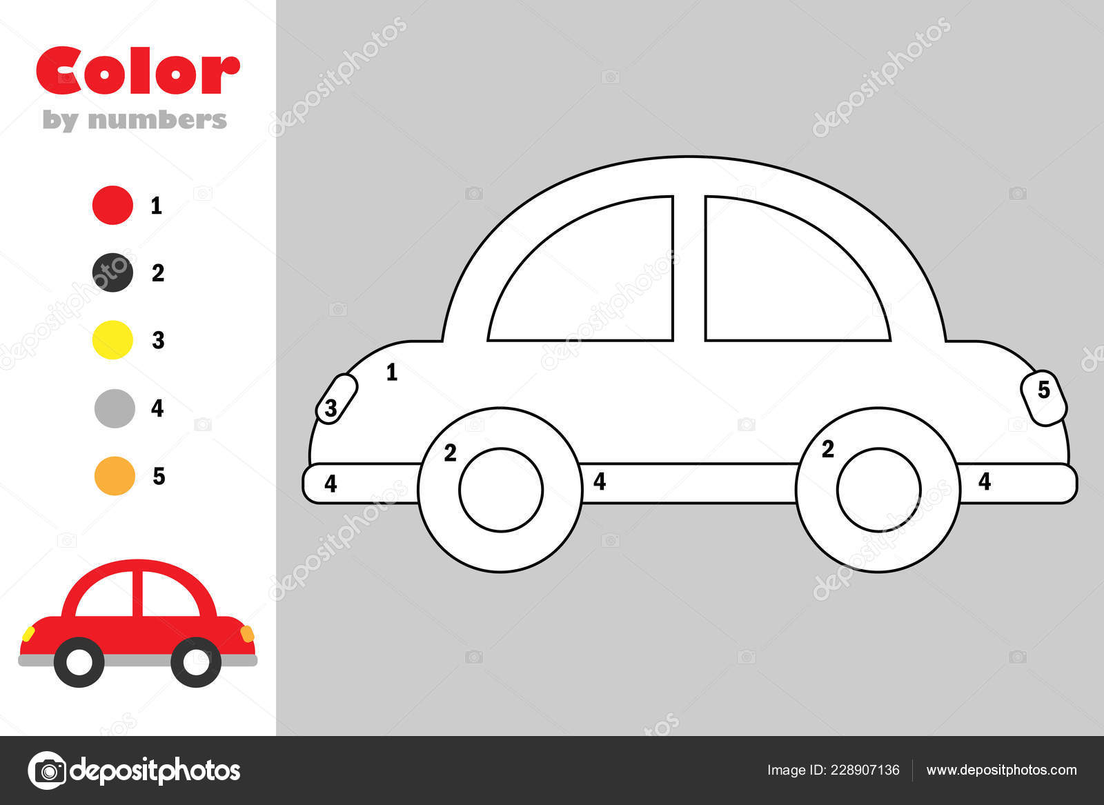 Car Cartoon Style Color Number Education Paper Game