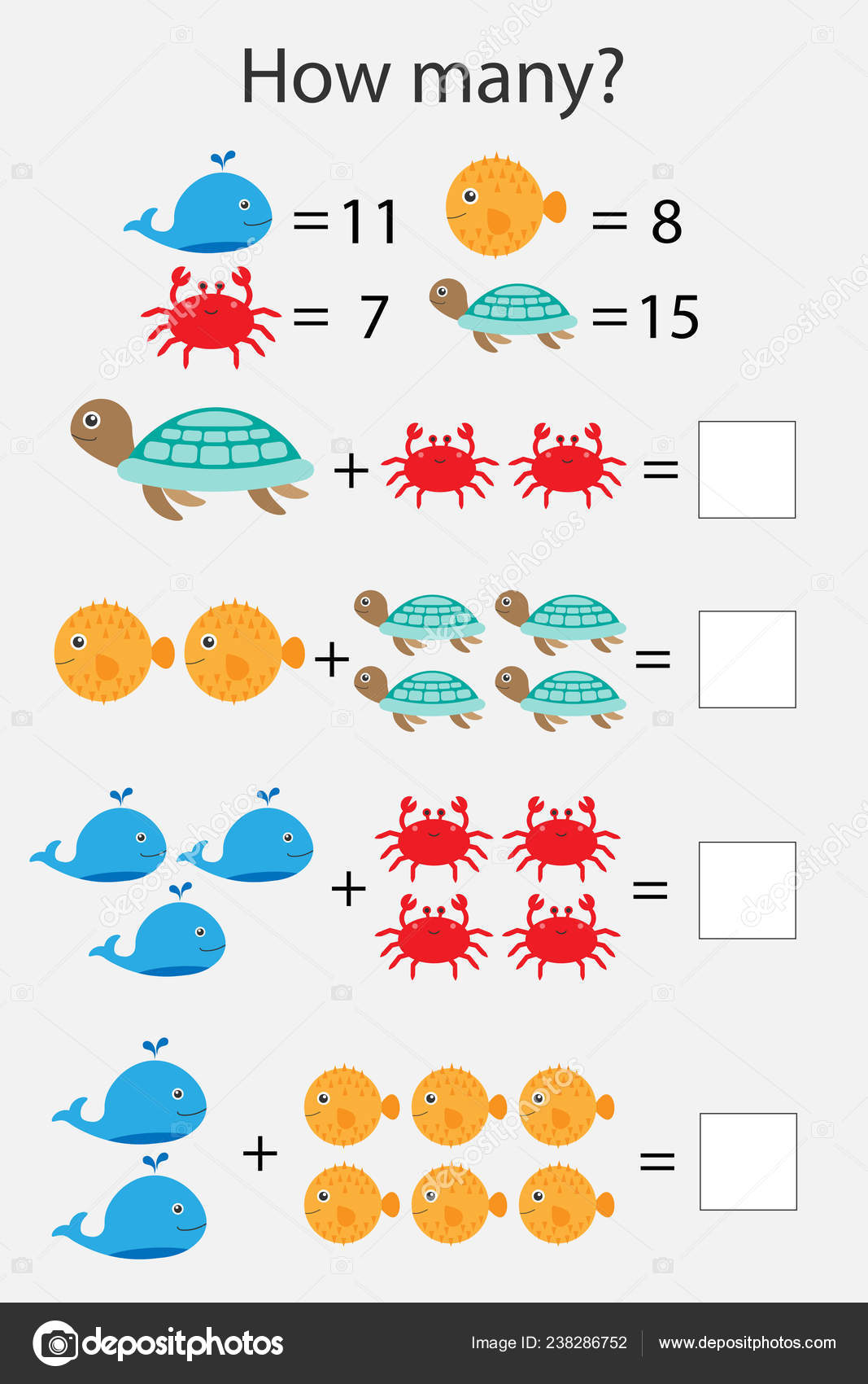 How Many Counting Game Ocean Animals Kids Educational