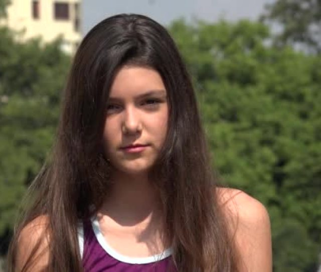 Serious Teen Girl With Long Hair Stock Video