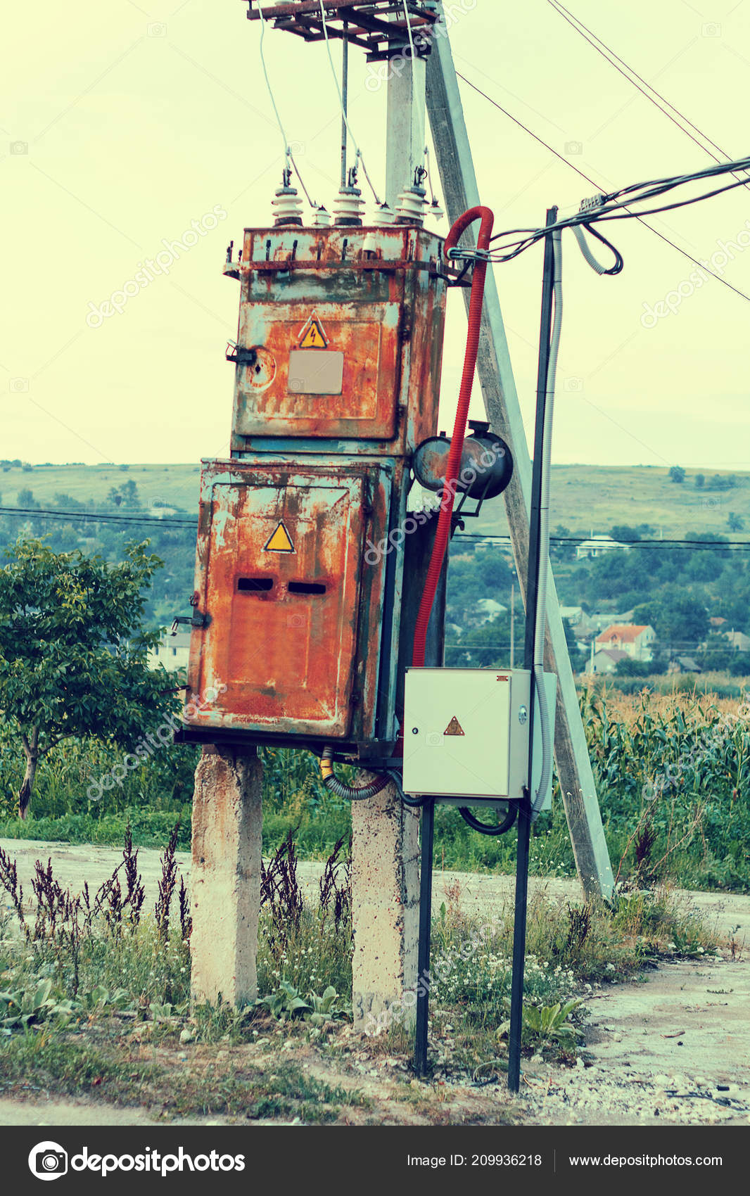 hight resolution of old electric working transformer rural areas stock photo