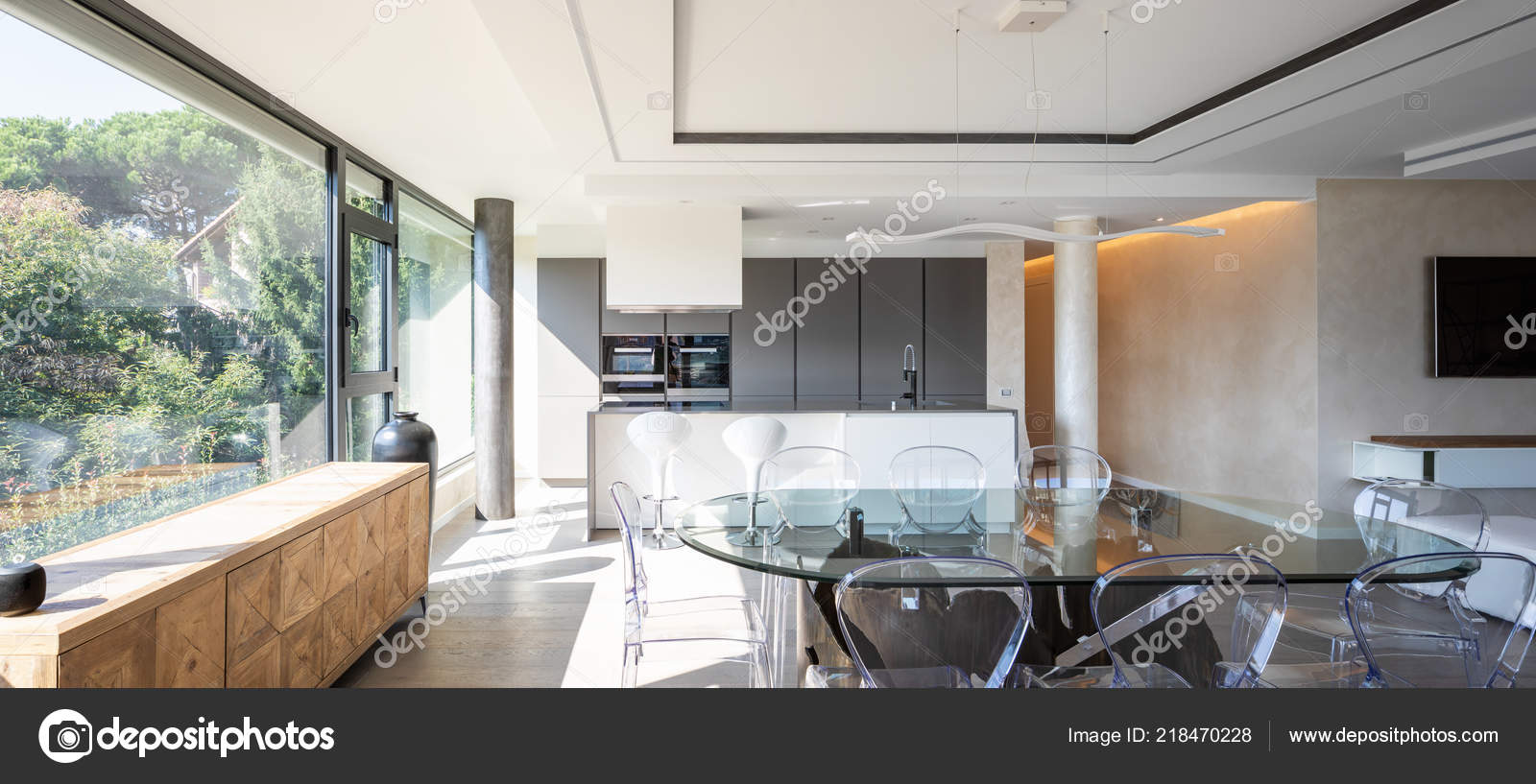 Modern Kitchen Chairs Modern Kitchen Island Transparent Chairs Table Nobody Stock