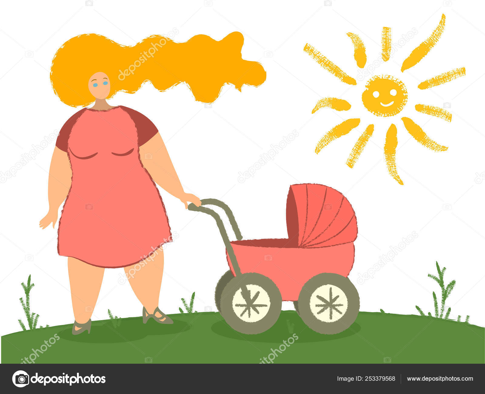 hight resolution of mother with baby carriage vector illustration mom with newborn in pram woman with child walking in park flat clipart female cartoon character