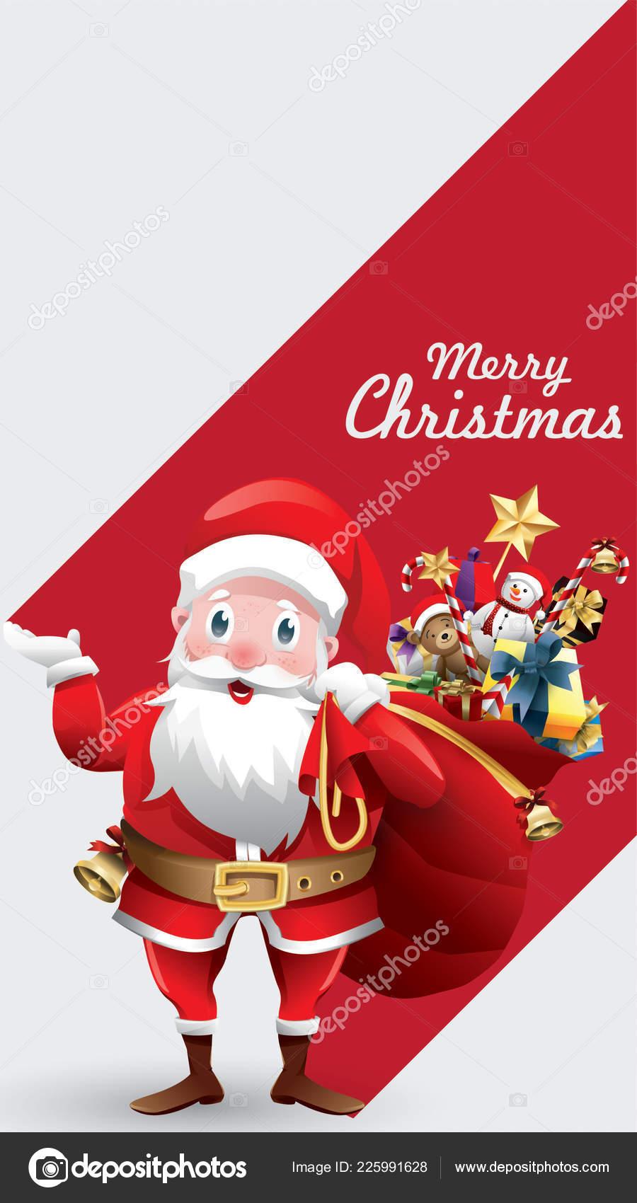 Merry Xmas Cartoon Pics : merry, cartoon, Merry, Christmas, Happy, Cartoon, Santa, Claus, Vector, Image, Vavectors, Stock, 225991628