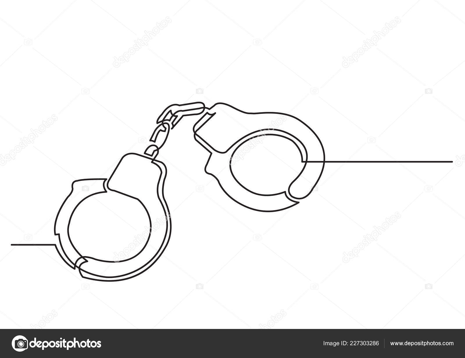 hight resolution of one line drawing isolated vector object handcuffs stock vector
