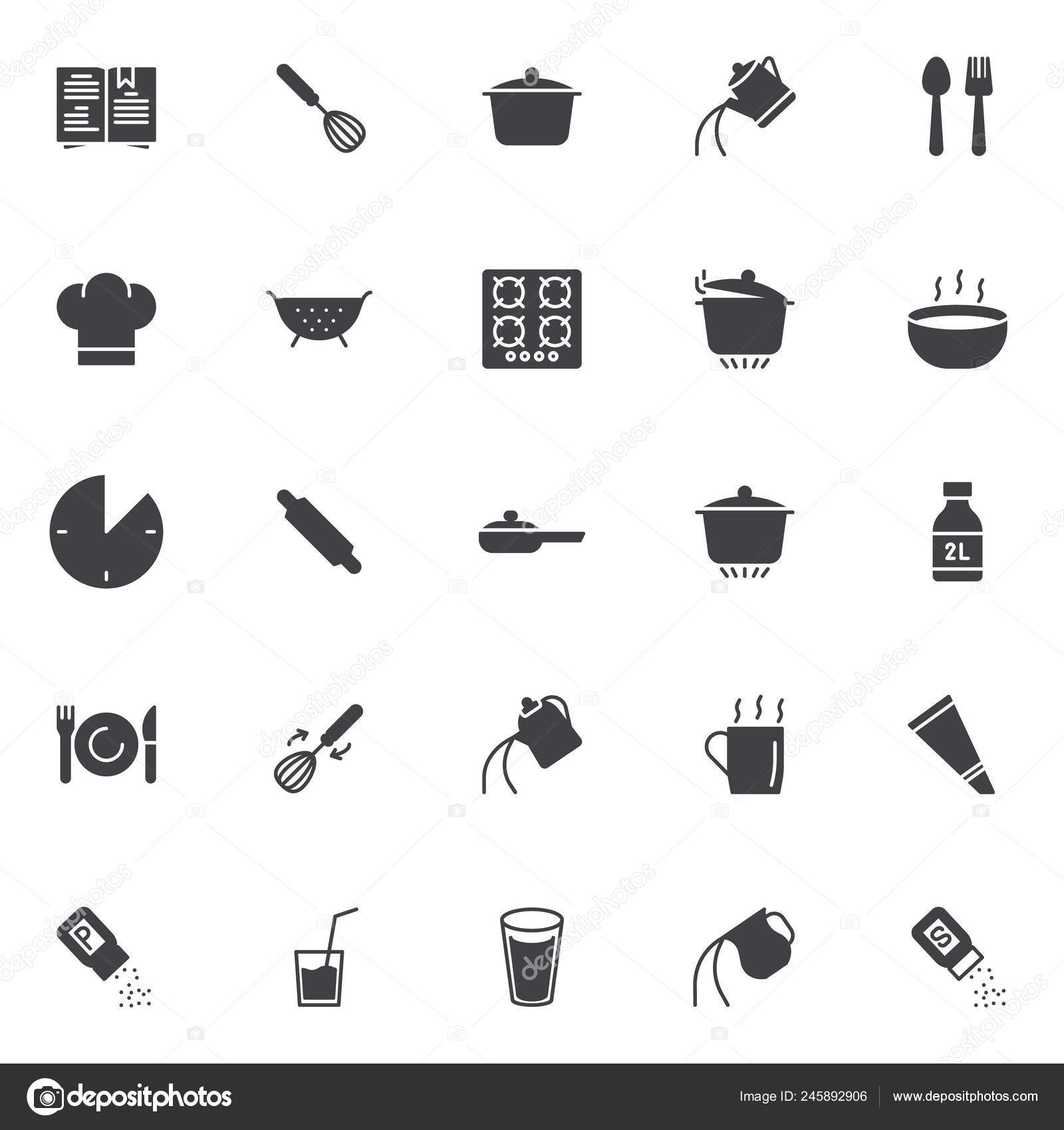 Cooking Instructions Vector Icons Set Modern Solid Symbol