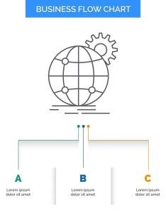 International business globe world wide gear flow chart design also rh depositphotos