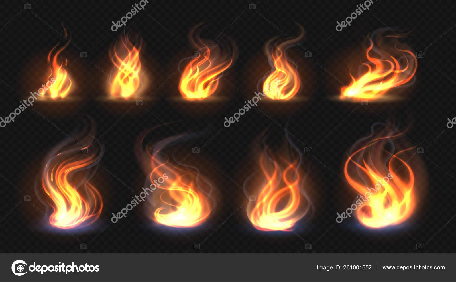 realistic fire flames transparent