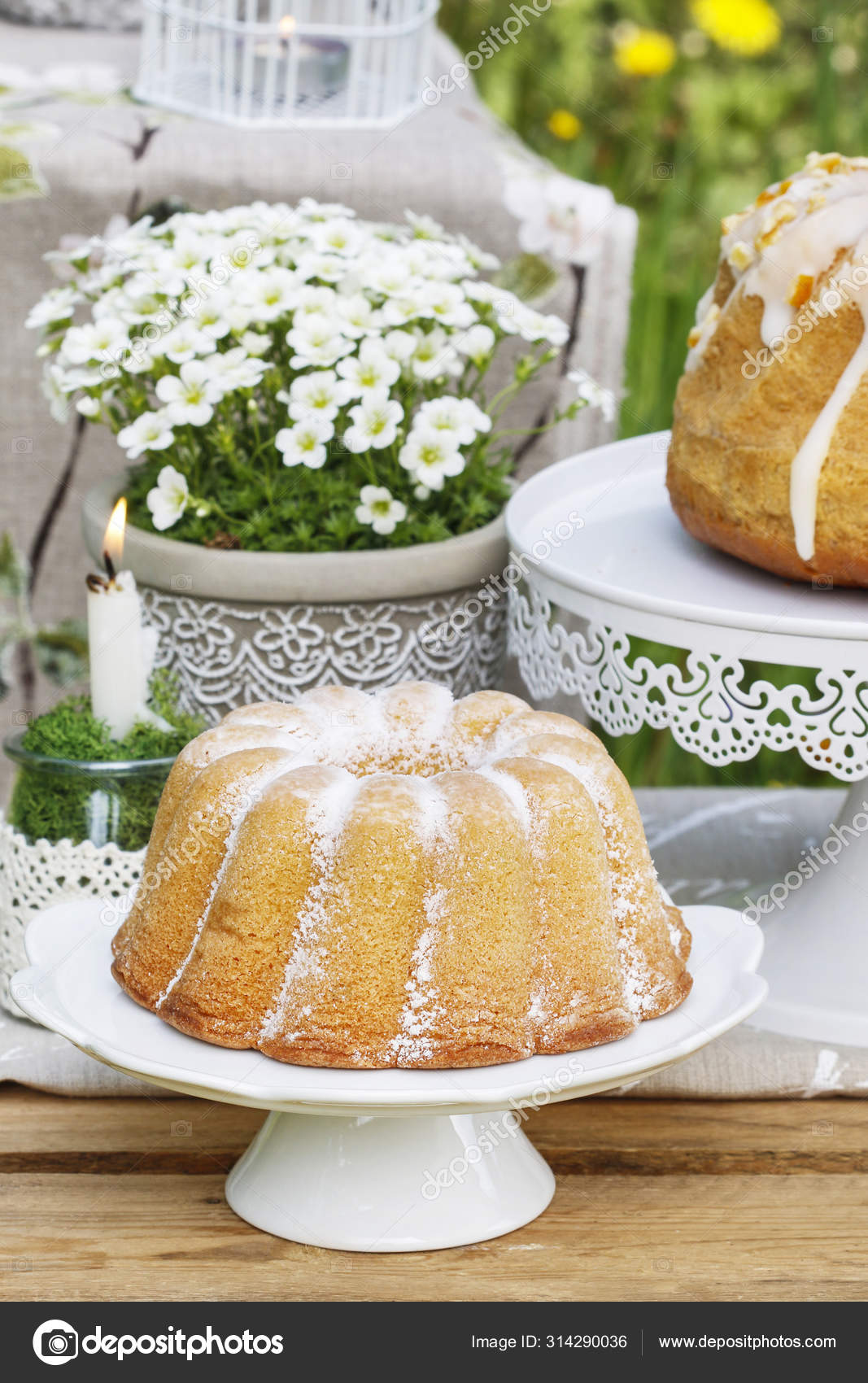 Traditional Easter Cake With Icing In The Garden Stock Photo C Agneskantaruk 314290036