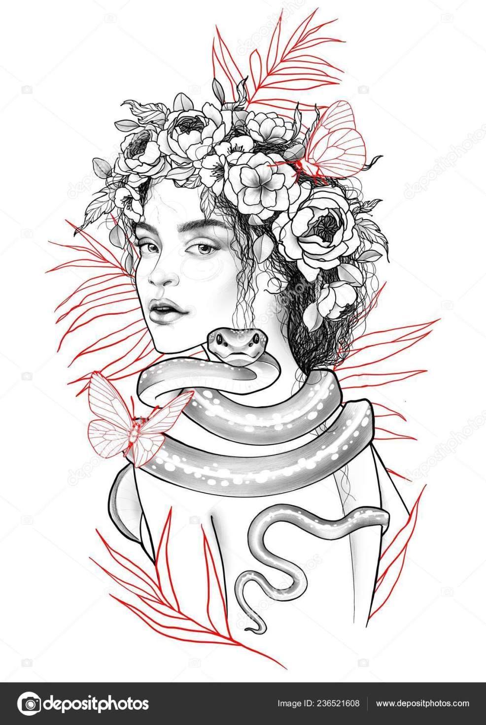женщина змея эскиз татуировки стоковое фото Alexwind 236521608