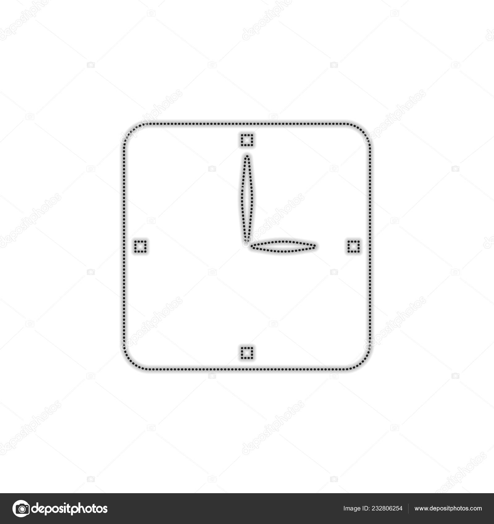 hight resolution of simple clock icon dotted outline silhouette shadow white background stock vector