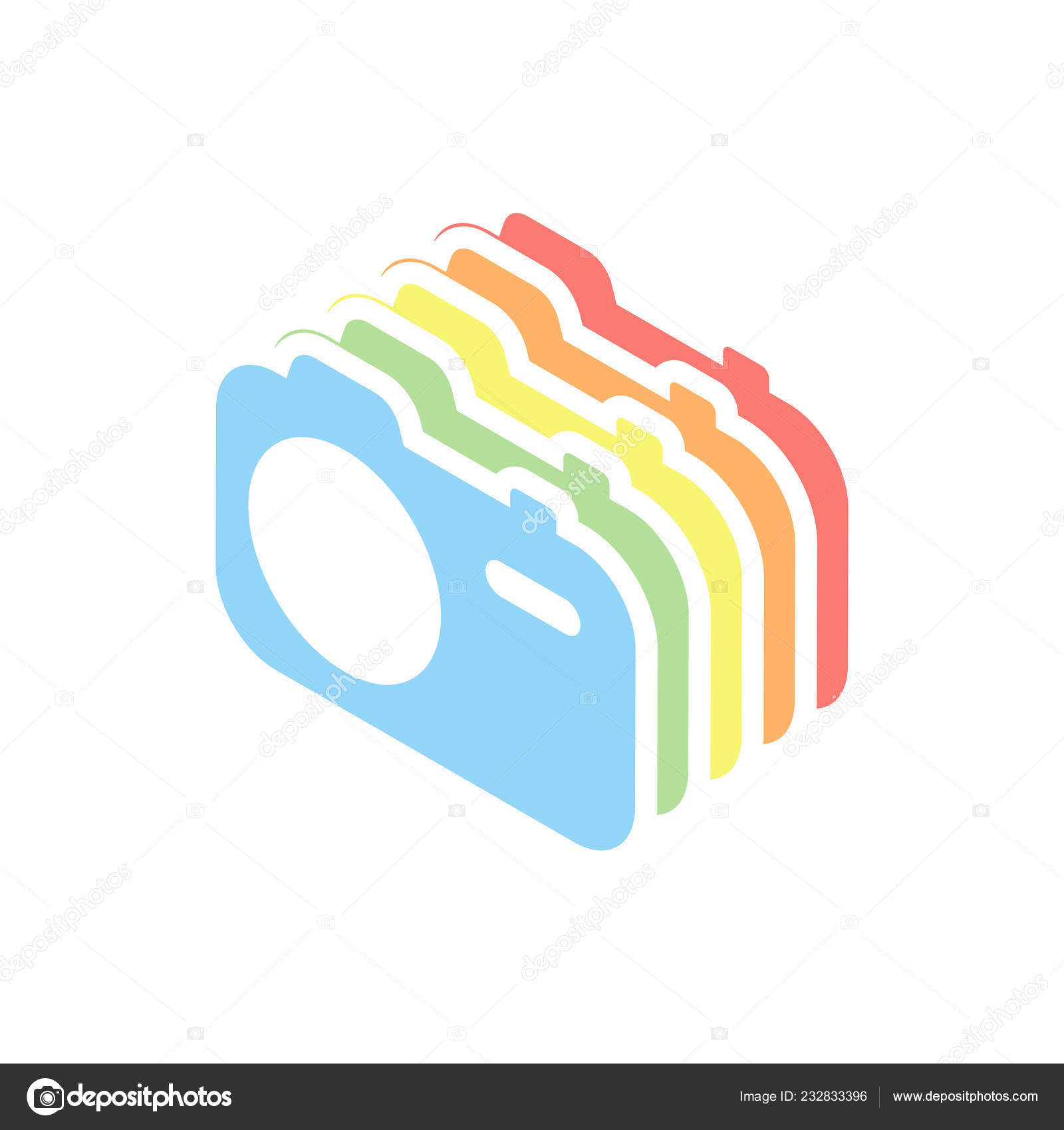 hight resolution of simple photo camera technology icon stack colorful isometric icons white stock vector