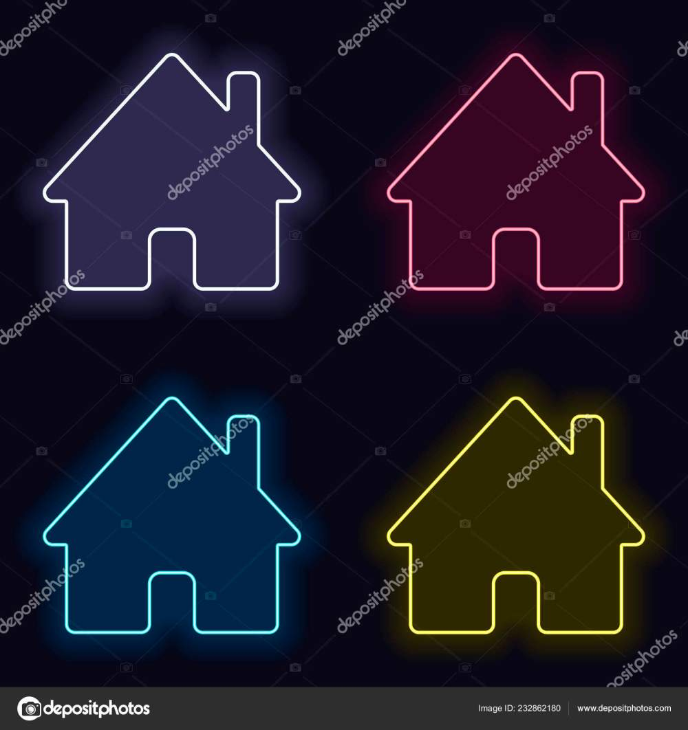 medium resolution of house icon set fashion neon sign casino style dark background stock vector