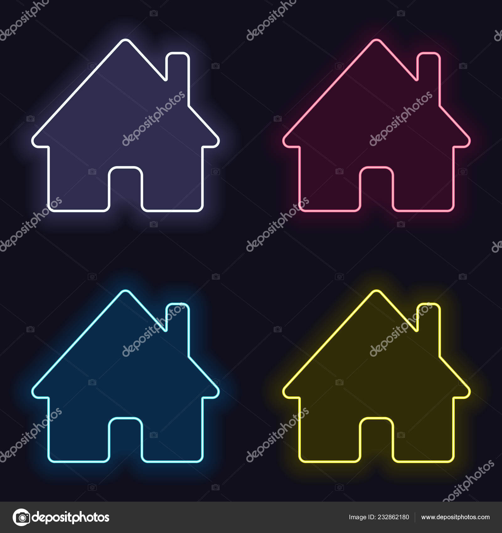 hight resolution of house icon set fashion neon sign casino style dark background stock vector