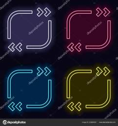 text quote square simple icon set neon sign casino style stock vector [ 1600 x 1700 Pixel ]