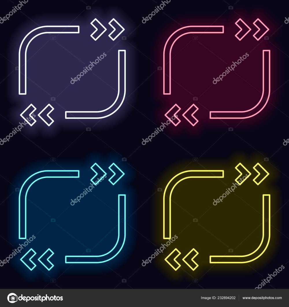 medium resolution of text quote square simple icon set neon sign casino style stock vector