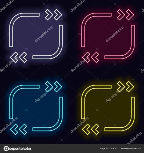 small resolution of text quote square simple icon set neon sign casino style stock vector